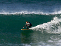 Surfing at Trewhiddle, Cornwall