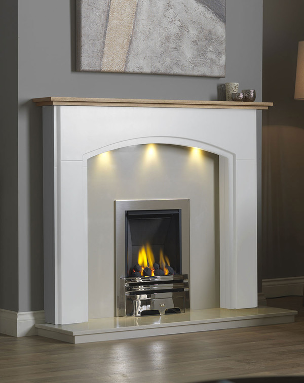 Lindale Fireplace Surround in Brilliant White with Oak Shelf