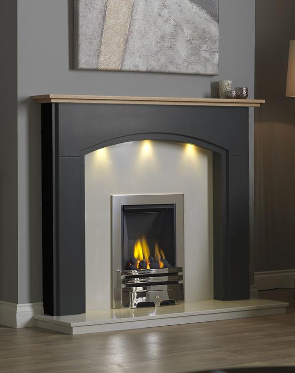 Lindale Fireplace Surround in Matt Black with Oak Shelf