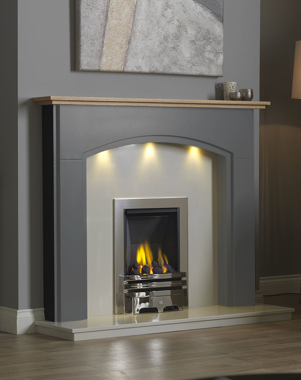 Lindale Fireplace Surround in Storm with Oak Shelf
