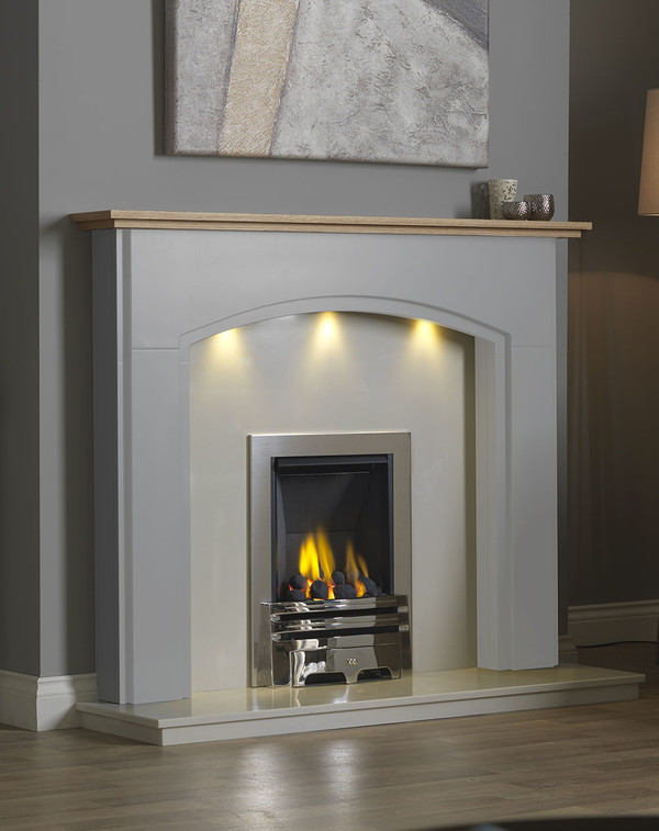 Lindale Fireplace Surround in Smooth Mist with Oak Shelf
