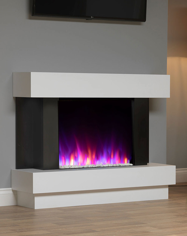 White surround with mixed flame and pebbles