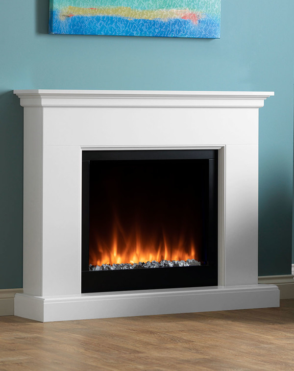 Madrid electric fireplace suite with orange flame pattern