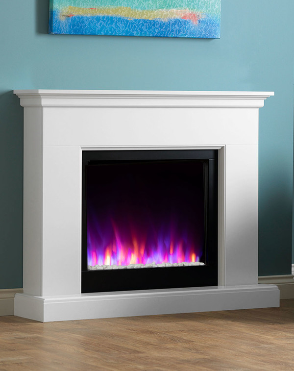 White Madrid electric fireplace suite with mixed flame pattern