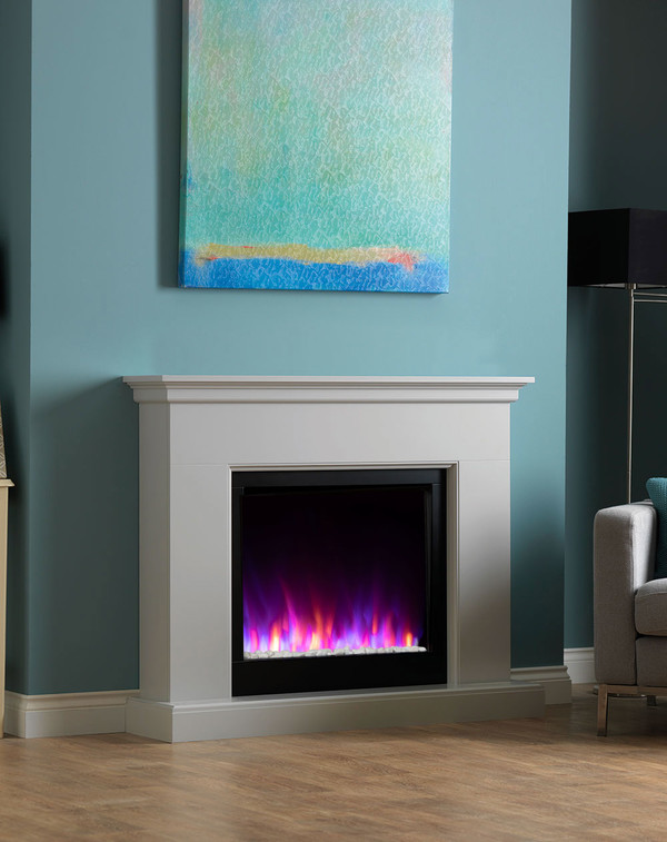 Madrid electric fireplace suite shown in Smooth Mist