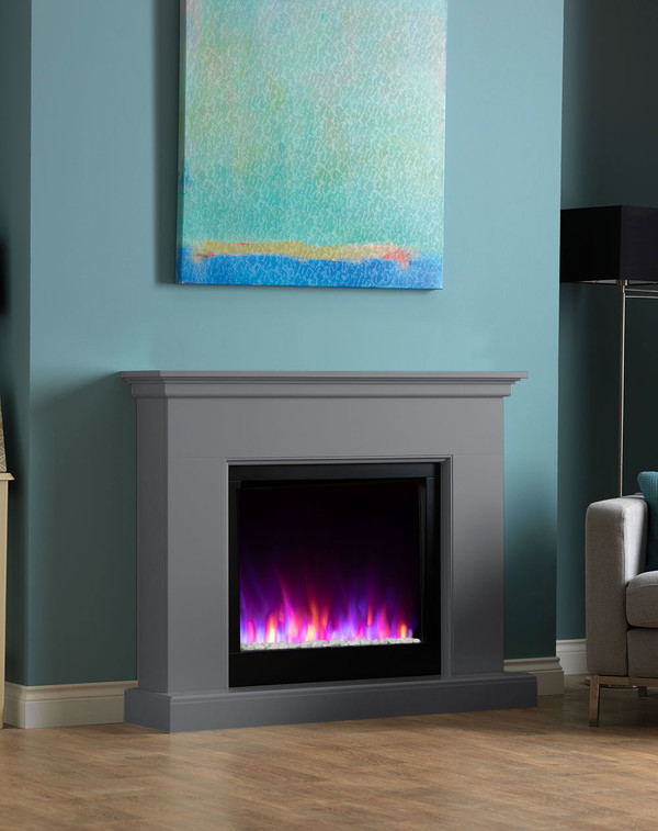 Madrid electric fireplace suite shown in Storm