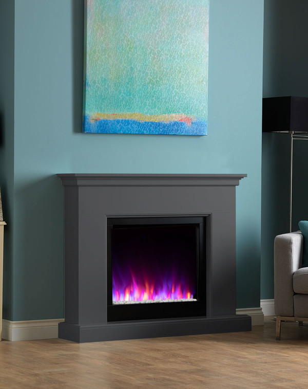 Madrid electric fireplace suite shown in Smooth Slate