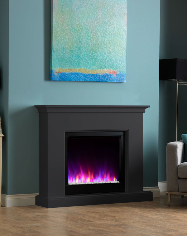 Madrid electric fireplace suite shown in Matt Black