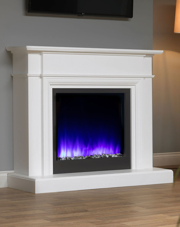 White Oslow electric fireplace suite with blue flame pattern