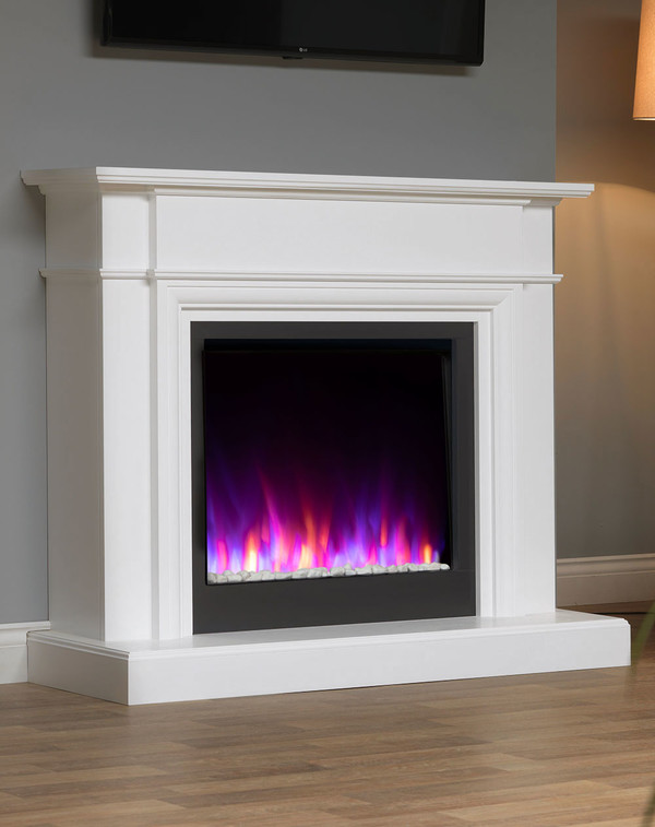 White Oslow electric fireplace suite with mixed flame pattern