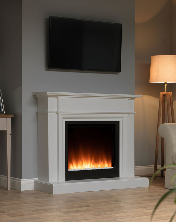 White Oslow electric fireplace suite in Smooth Mist