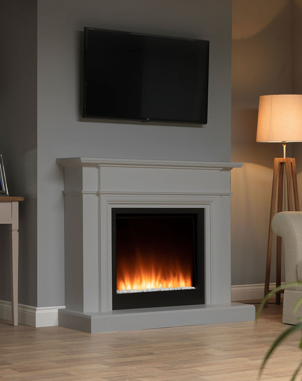 White Oslow electric fireplace suite in Storm