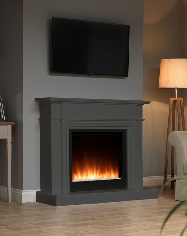 White Oslow electric fireplace suite in Smooth Slate