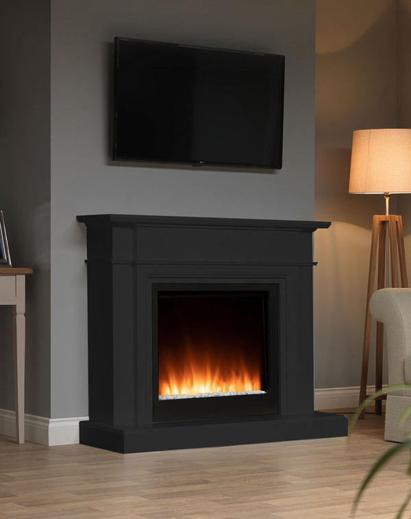 White Oslow electric fireplace suite in Matt Black