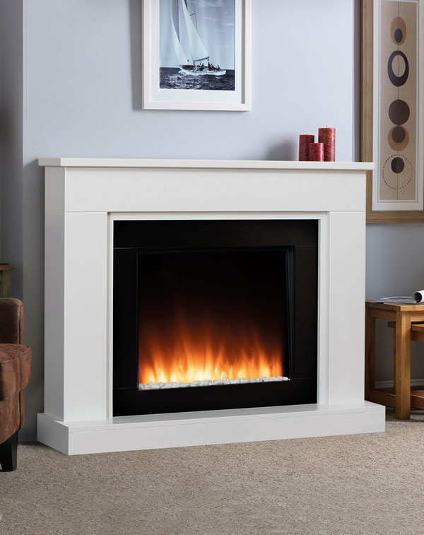 White Pristina electric fireplace suite with orange flame pattern