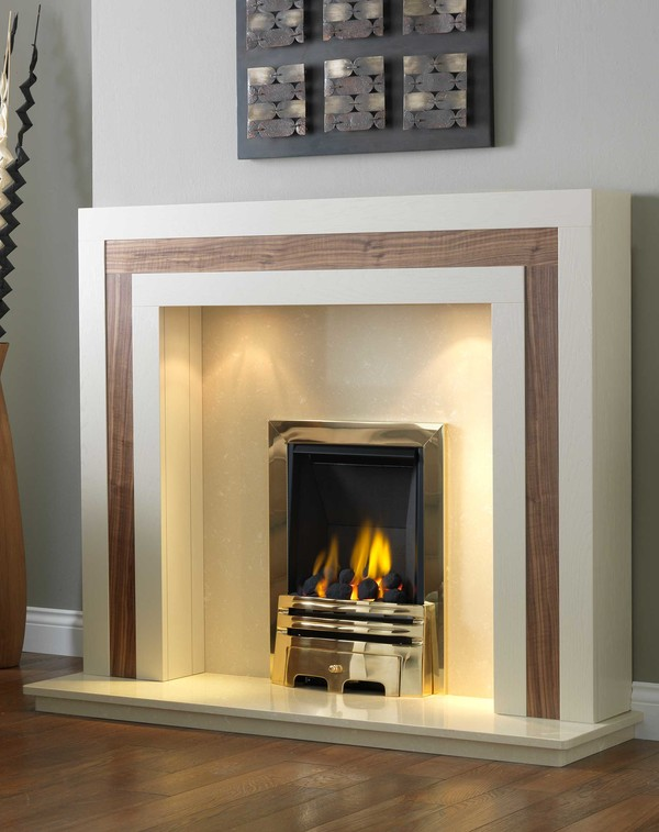 Calgary Fire Surround Shown Here in Tudor Oak and American Walnut