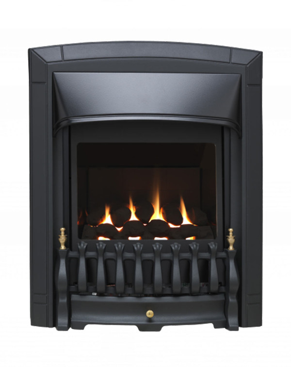 Valor balanced flue fire in black