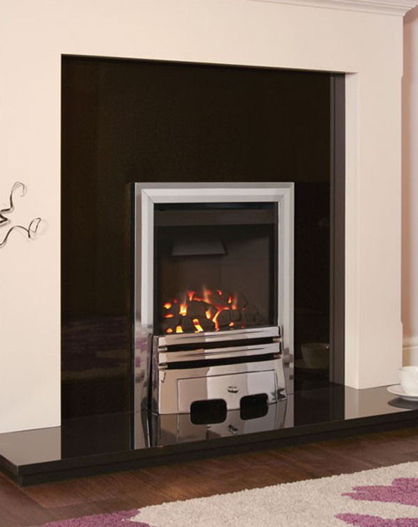 Flavel Calibre gas fire in Silver