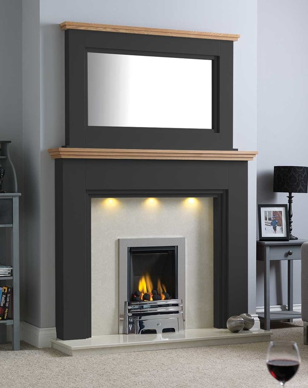 Florida Fire Surround Shown Here in matt black with a Clear Oak Shelf