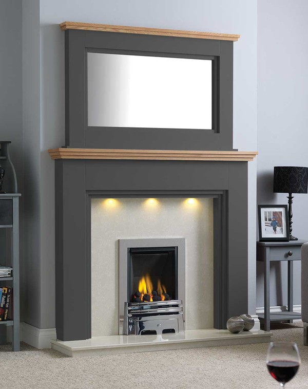 Florida Fire Surround Shown Here in Wood grain Slate with a Clear Oak Shelf