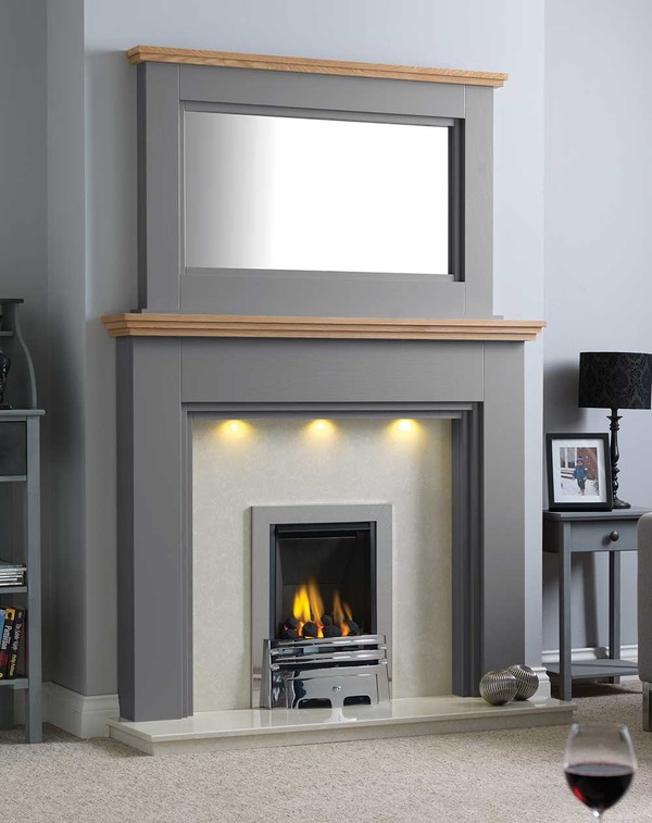 Florida Fire Surround Shown Here in Storm with a Clear Oak Shelf