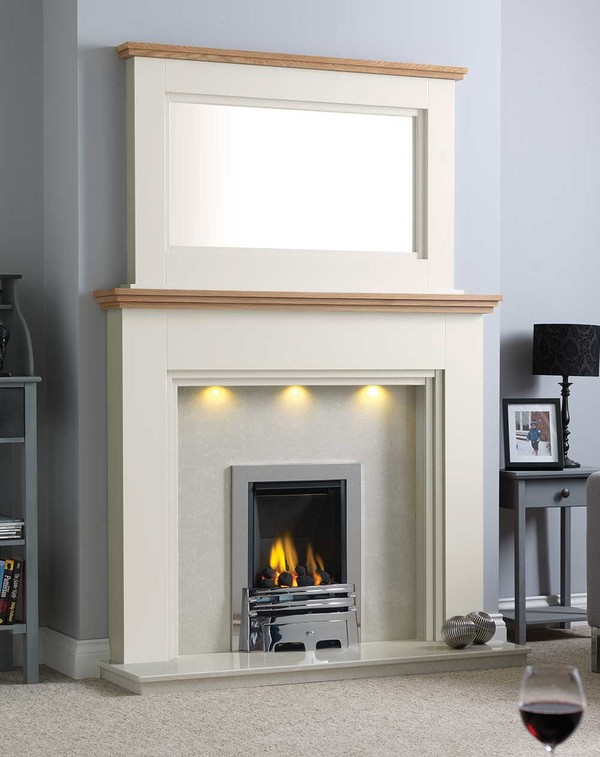 Florida Fire Surround Shown Here in Wood Grain Ivory with a Clear Oak Shelf