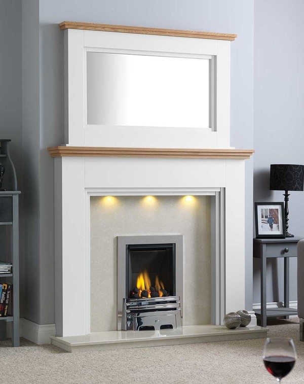 Florida Fire Surround Shown Here in Brilliant White with a Clear Oak Shelf