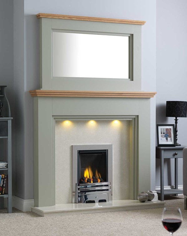 Florida Fire Surround Shown Here in Wood Grain Olive with a Clear Oak Shelf