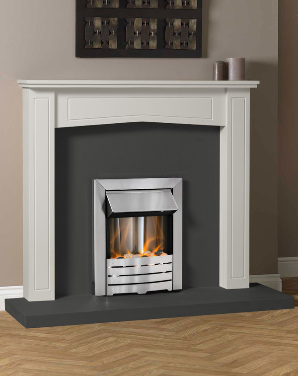 Clyde Fire Surround in Mist with Slate Hearth and Back Panel