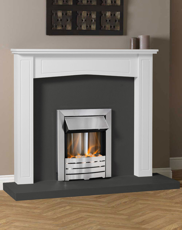Clyde Fire Surround in White with Slate Hearth and Back Panel