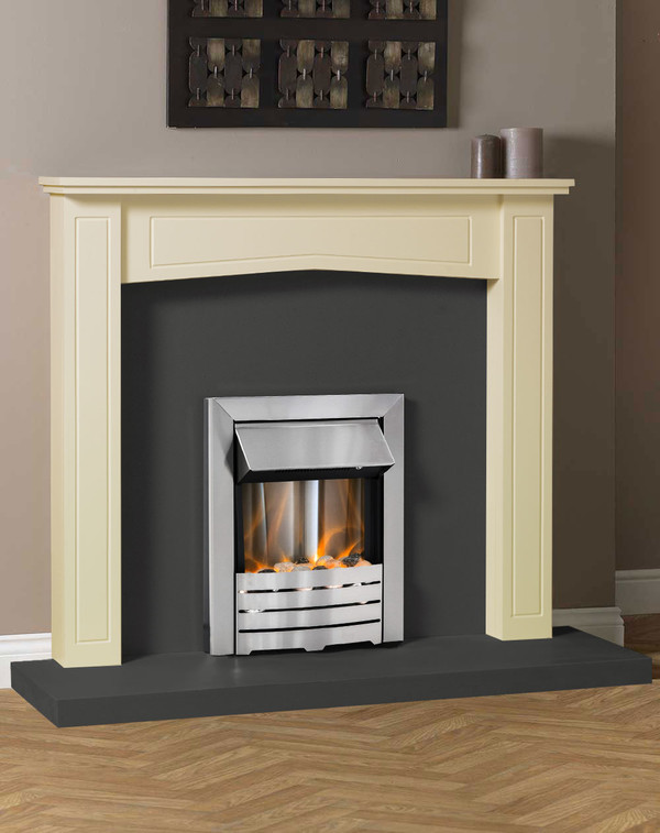 Clyde Fire Surround in Olde England White with Slate Hearth and Back Panel
