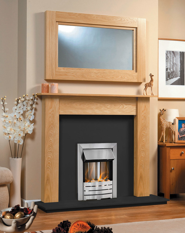 The Atlanta Fireplace Package in Clear Oak