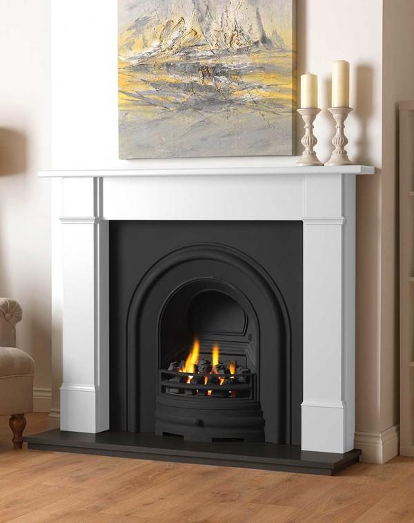 Rowan wood fire surround shown here in Brilliant White