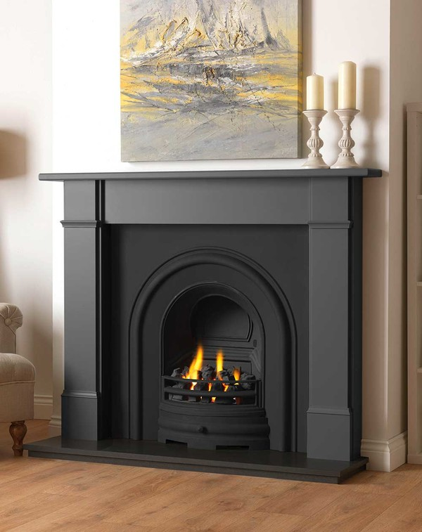 Rowan wood fire surround shown here in Smooth Slate