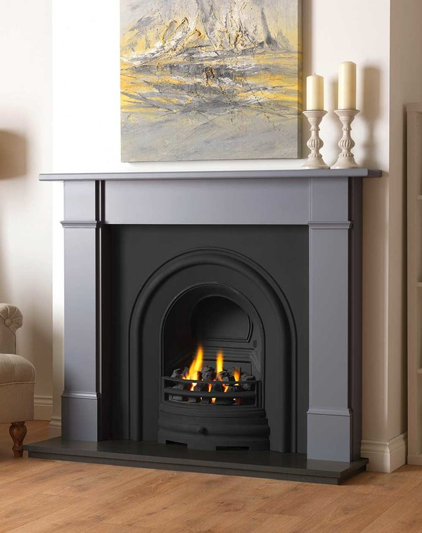 Rowan wood fire surround shown here in Smooth Storm