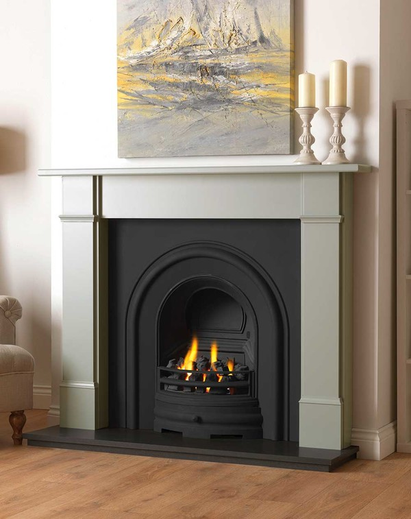 Rowan wood fire surround shown here in Smooth Olive