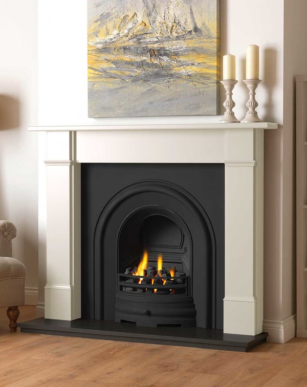Rowan wood fire surround shown here in Olde England White