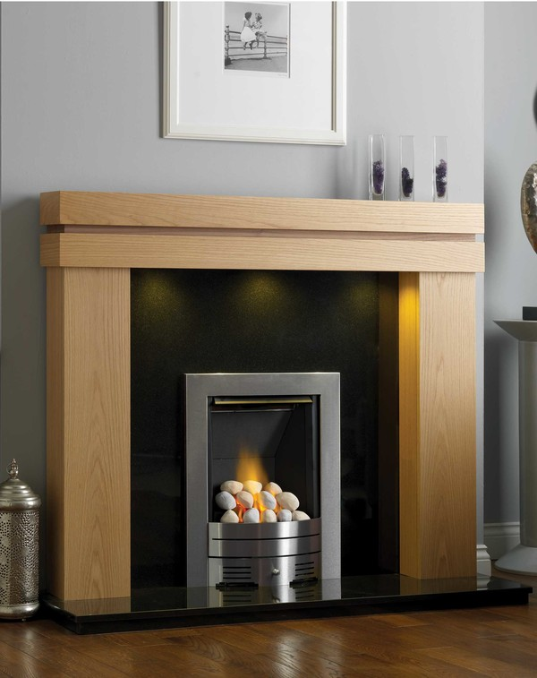 Houston Fire Surround Shown Here in Clear Oak with American Walnut Inlay
