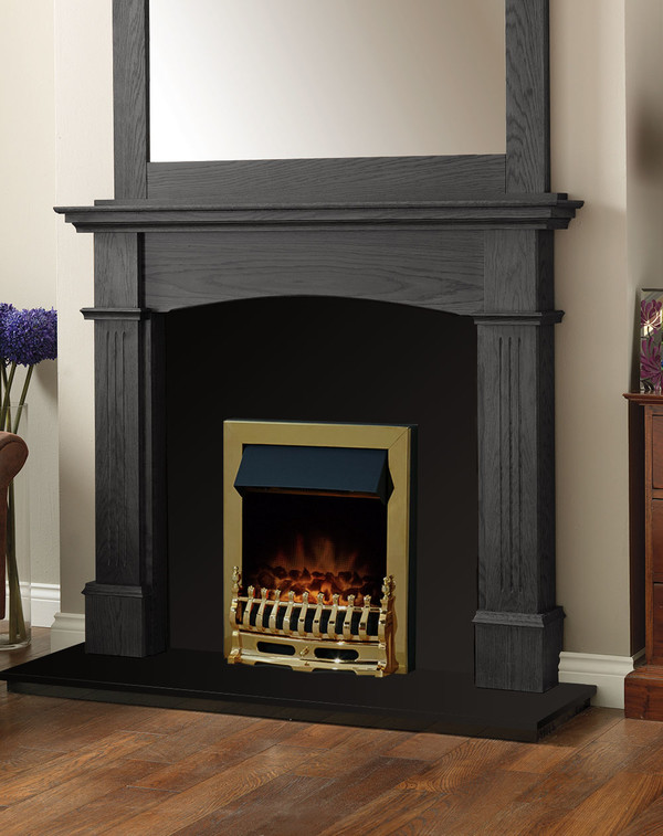 Cherwell Fire Surround Package in Wood Grain Slate with Electric Fire