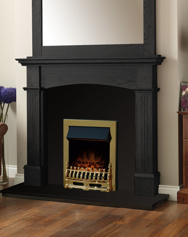 Cherwell Fire Surround Package in Black Oak with Electric Fire