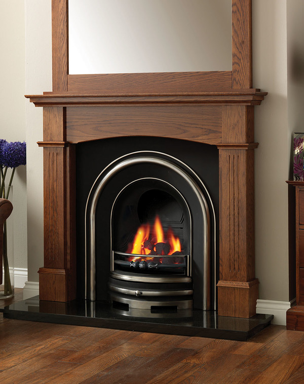 The Solid Oak Lancashire Fire Surround in Medium Oak