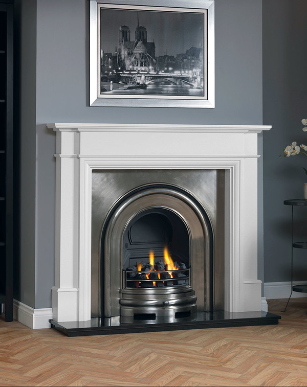 Hawthorne fireplace surround shown in Brilliant White