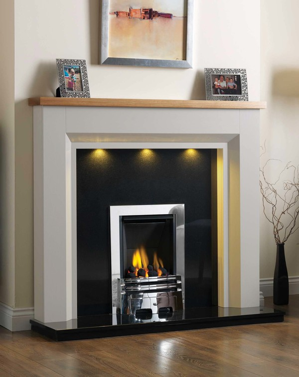 Kentucky Fire Surround shown here in Mist with a Clear Oak top
