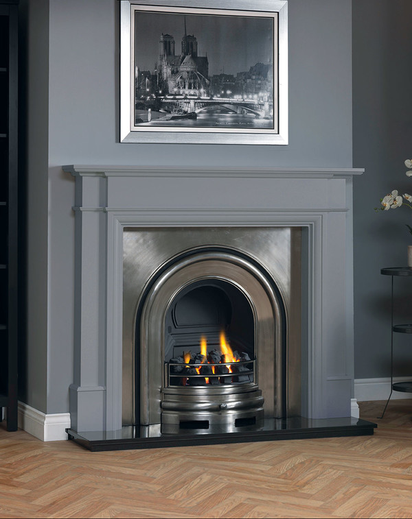 Hawthorne fireplace surround shown in Cloud