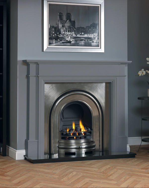 Hawthorne fireplace surround shown in Storm