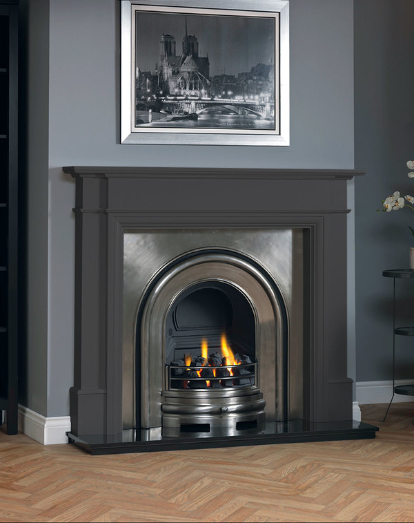 Hawthorne fireplace surround shown in Slate