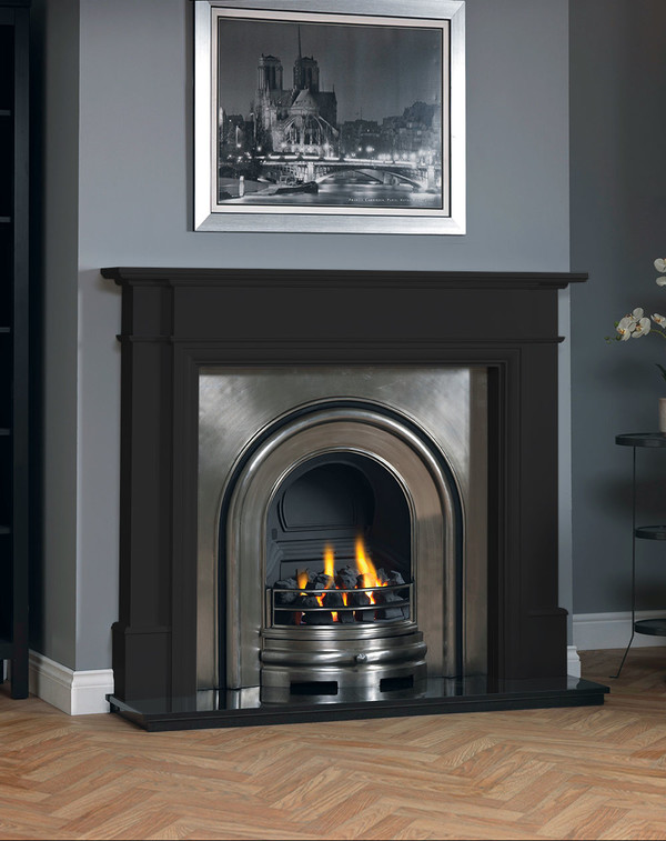 Hawthorne fireplace surround shown in Matt Black