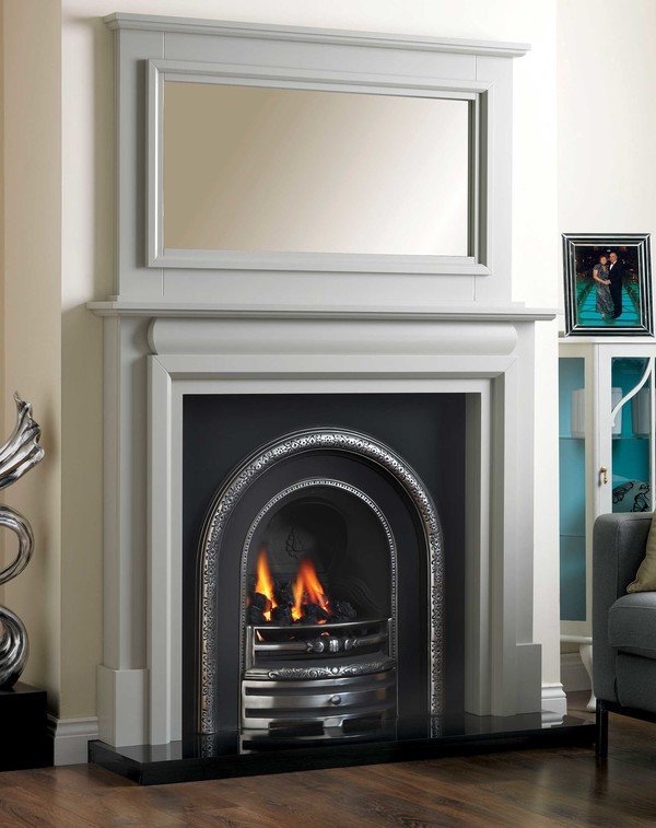 Kilkenny Mantlepiece is shown here in Smooth Olive .