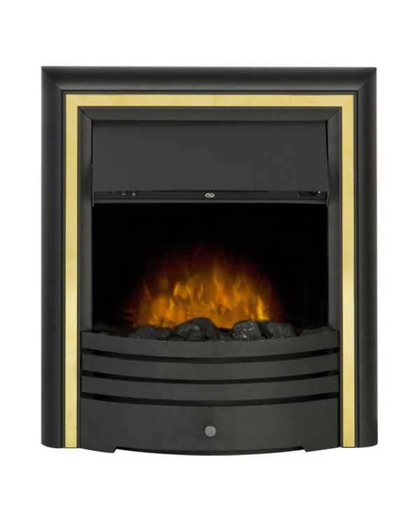 The Madrid Electric Inset Fire with Gold trim and coals