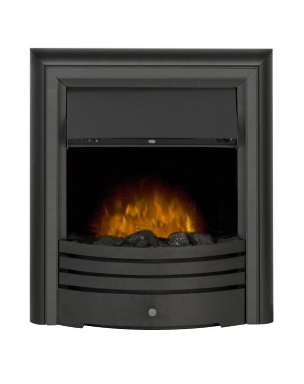The Madrid Electric Inset Fire with Black trim and Pebbles